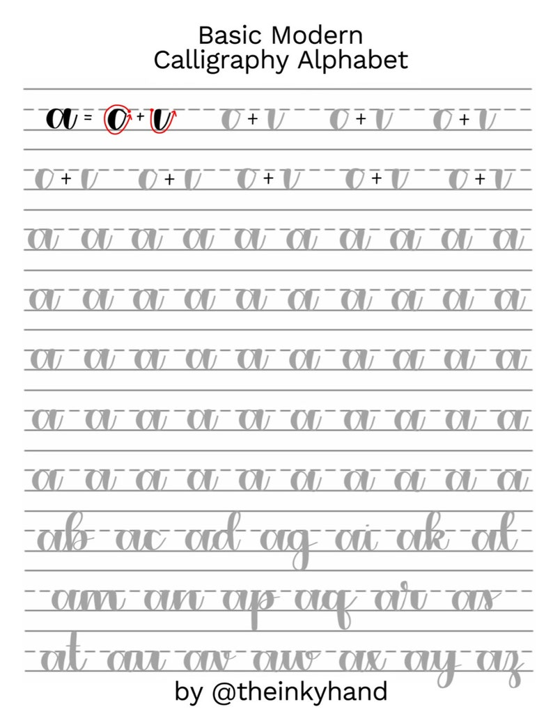 Basic Modern Calligraphy Practice Sheets by theinkyhand  image 0