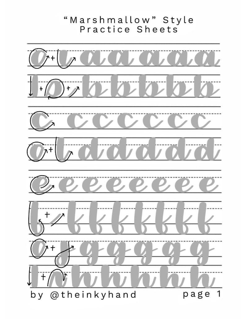 Marshmallow style -- Brush Calligraphy Practice Sheet Set