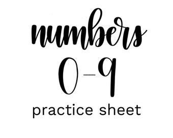 Brush Lettering Practice Sheet - Numbers 0-9 // DIGITAL DOWNLOAD