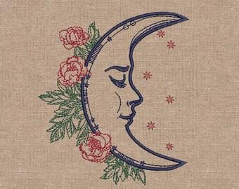 MACHINE EMBROIDERY DESIGN - Romantic moon esign, embroidery pattern, diy embroidery, designs embroidery