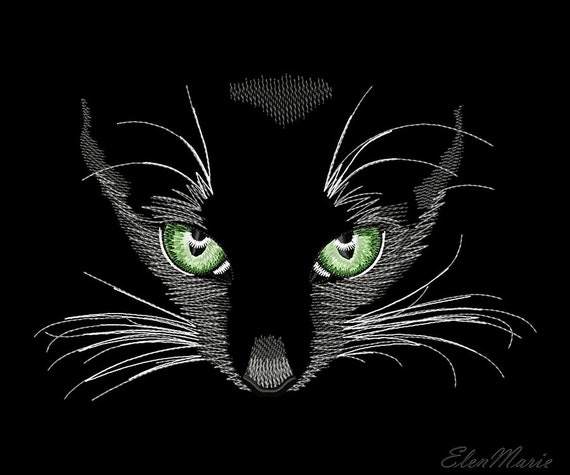 Black Cat Machine Embroidery Design Cat Embroidery Cat Night Etsy