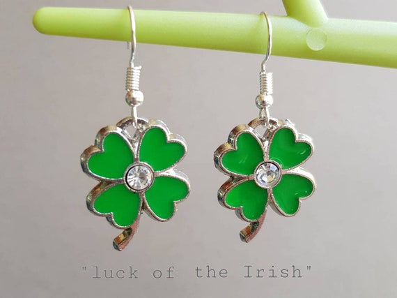 Cute Mini Magic Four Leaf Clover Earrings Green Witch Jewelry for Good Luck and Wealth