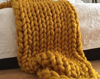 Chunky knit blanket, Merino wool, Wool throw, Chunky blanket, Giant knit blanket, Grande Punto, Knitted blanket, giant throw, blanket