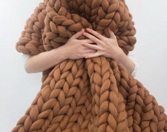 Merino wool blanket, brown Chunky knit blanket, Merino wool, Wool throw, Chunky blanket, Giant knit blanket, Knitted blanket, black friday