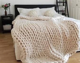 Chunky knit blanket, white blanket, chunky knit, chunky throw, Chunky blanket, Giant knit blanket, Knitted blanket, arm knitted blanket