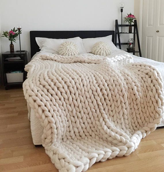 Chunky Knit Blanket White Blanket Chunky Knit Chunky Throw