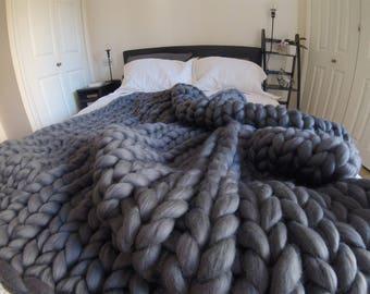 Arm knit blanket, Chunky knit blanket, Giant knit blanket, Merino wool blanket, Wool throw, Chunky blanket, Knitted blanket, chunky knit