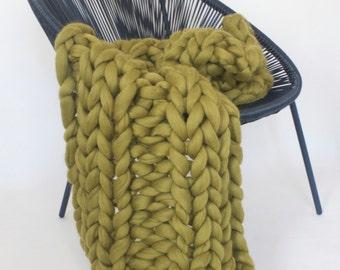 Chunky knit blanket, chunky knit, Merino wool, chunky knit throw, Chunky blanket, Giant knit blanket, Grande Punto, Knitted blanket, Unspun