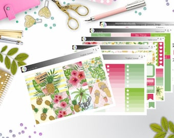 weekly kit - tropical summer (Erin Condren and Happy Planner Stickers)