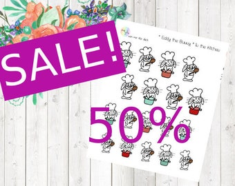 SALE - Eddy the Bunny - in the kitchen (Erin Condren and Happy Planner Stickers)