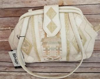 3765c4f2e9ac Vintage Rivage Handbag New Old Stock Fabric Tapestry Design Tan Beige Shoulder  Bag