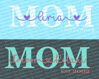 One Customizable MOM SVG file with child / childrens name and EST Year