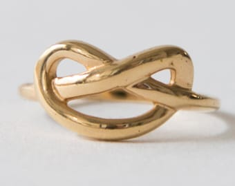 14k Gold Knot Ring, 14k Gold Ring, 14k Gold Wedding Ring, Love Ring, Love Knot Ring, 14k Gold  Love Promise Ring