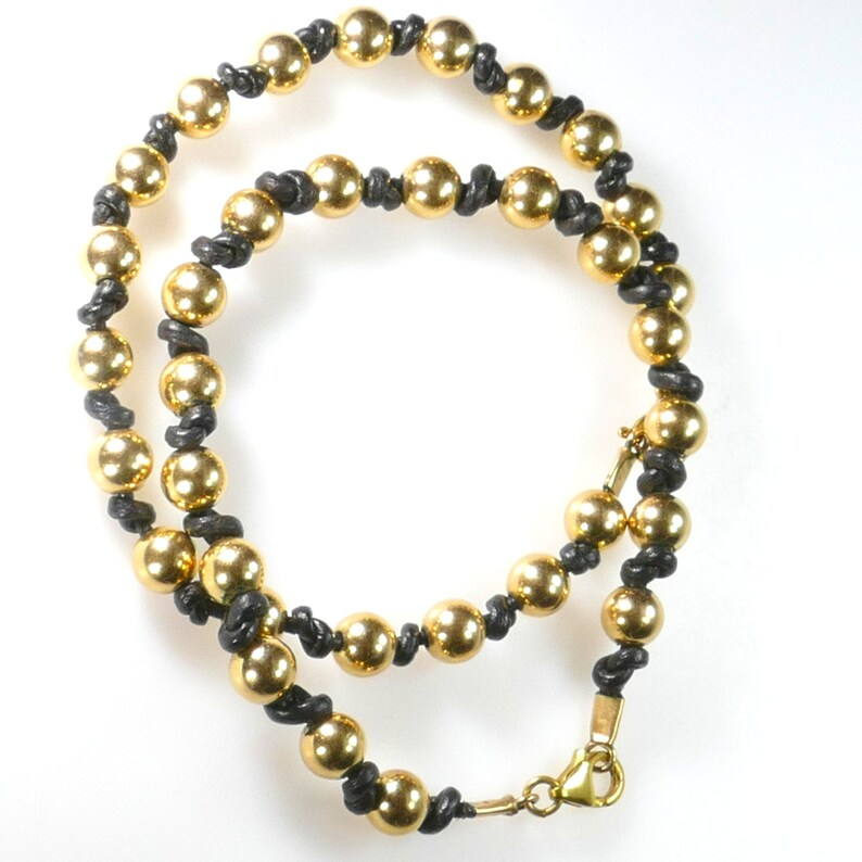 Gift fo him Gold Bracelet from Israel Gold Beads and Leather Handmade Bracelet Boho Gold-filled Leather Bracelet Gift for Her