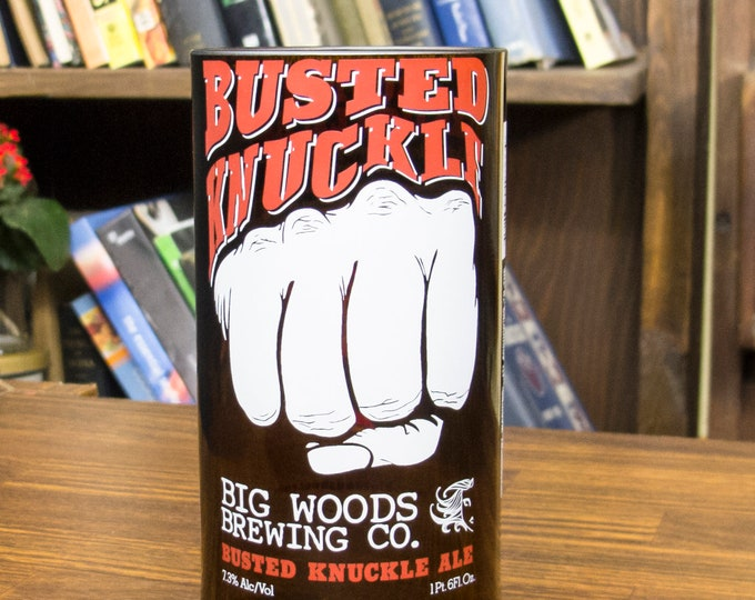 Big Woods Brewing Busted Knuckle beer glass gift for guys who have everything badass gift idea him perfect gift for dad fun beer gift idea