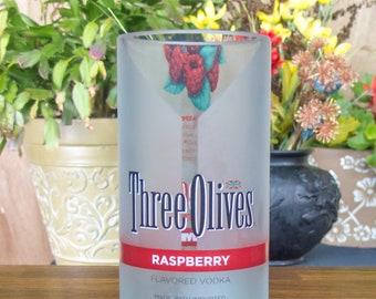 Three olives vintage raspberry bottle upcycled glass tumbler gift