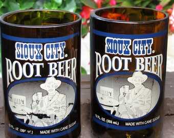 soda pop gift Sioux City Brewing Root Beer glasses soda bottle pop bottle boyfriend gift idea table glasses colored glasses unique gift item
