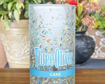 Three olives vintage cake bottle upcycled glass tumbler gift idea
