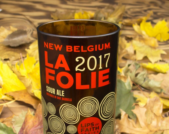 New Belgium La Folie 15oz beer glass great idea for weddings, birthdays,  recycled home decor, everyday drinkware, decor and more