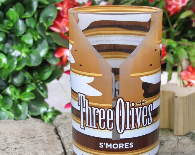 Upcycled Three Olives Vodka Bottle Flower Vase S'Mores