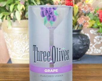 Three olives vintage grape bottle upcycled glass tumbler gift idea