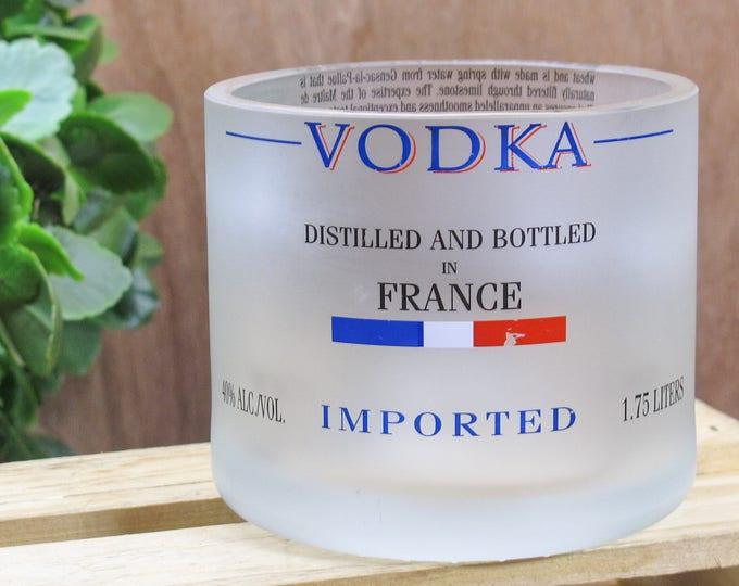 Heavy Grey Goose Vodka Glass Cut from 1.75L