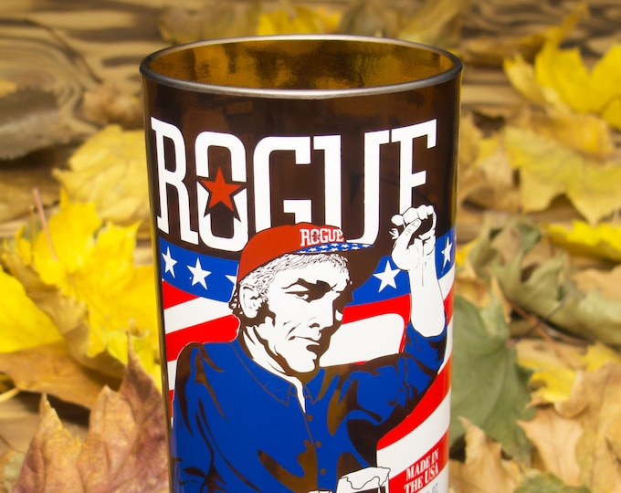Rogue American Ale 15 oz glass idea for creative weddings, recycled home decor, drinkware, gifts and more