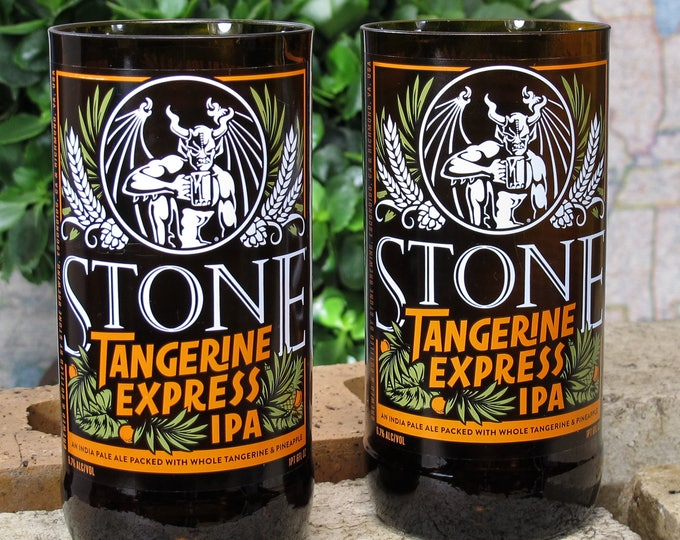 recycled beer bottle Stone Brewing Tangerine Express IPA drunk man cave gift dad bar gift for dad beer glasses beer lover liquor cabinet