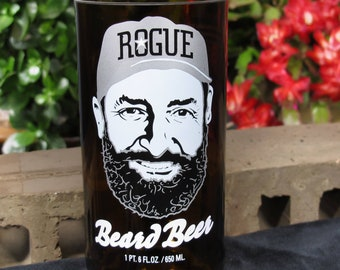 Beard Beer Upcycled Printed Rogue Bottles Now Drinkning Glasses Best Gift 2018 Wedding Christmas Birthday
