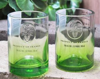 Ciroc Vodka Repurposed Bottle Shot Glasses Green Apple Set of 2
