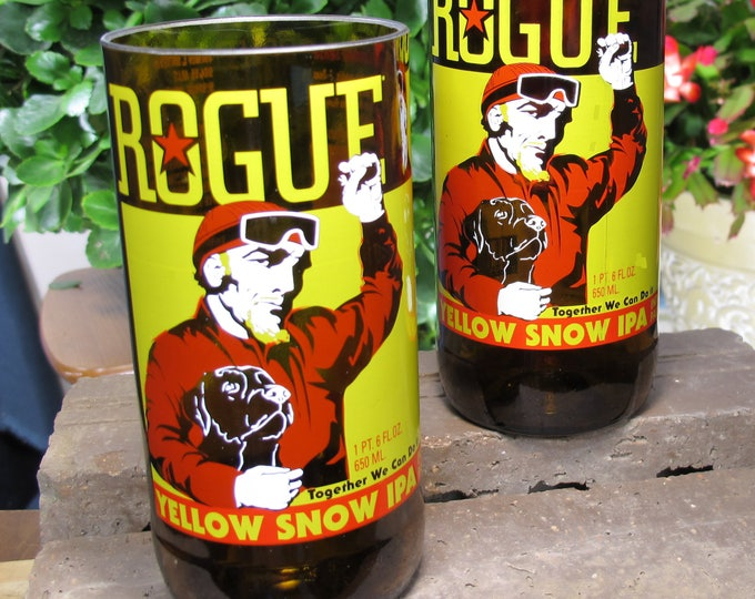 rogue brewery yellow snow IPA beer bottle glasses/best stylish gift ideas/wedding/christmas/drinking games/have to have for husband
