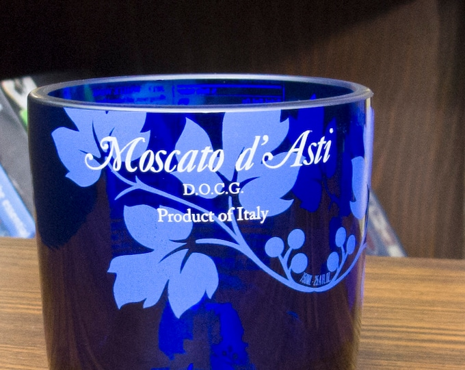 risata sparkling moscato cut wine blue bottle upcycled glass tumbler gift for her gift for wife gift xmas idea mothers day present for her