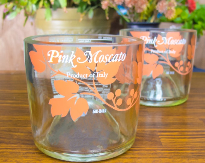 Risatta Pink Moscato bottle upcycled wine glass gift idea creative