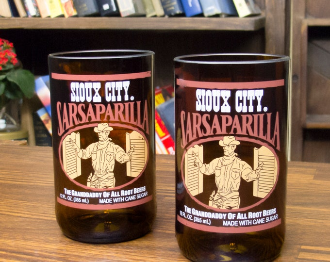 pop bottle Sioux City Brewing Sarsaparilla glasses custom beer glasses beer gift ideas gift for papa soda pop gift cool glass gift ideas