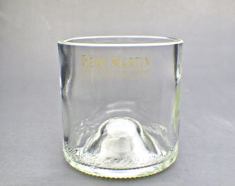 valentines gift remy martin Cognac Cut Bottle Upcycled Double Old Fashioned Glass by Rdi Glass