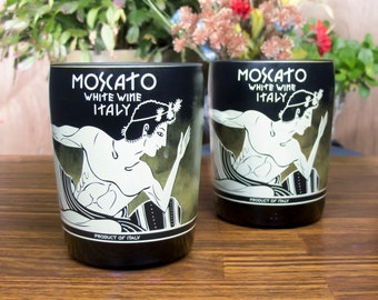 Candoni moscato white wine bottles reclaimed tumblers glasses holiday wine drinker gift