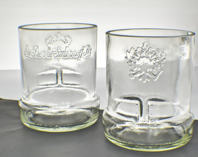 Smirnoff Vodka Cut Bottle Upcycled Old Fashioned Rocks Glass set of two by Rdi Glass