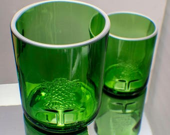 valentines gift Tanqueray Gin Cut Repurposed Bottle Upcycled Rocks Glass Set of two by Rdi Glass