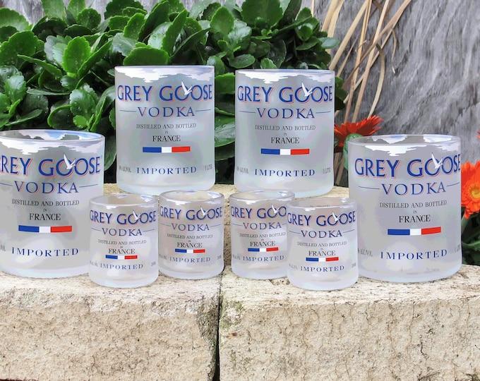 Grey Goose Vodka Bottle 8 Piece Glassware Set Rocks Glasses and Shot Glasses Coworker or Bestfriend Gift Idea