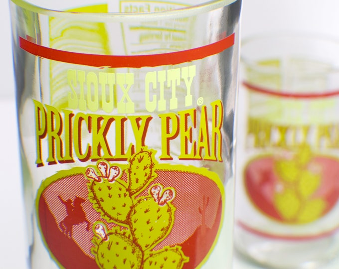 Sioux City Prickly Pear Bottle upcycled drinking glass set of 2