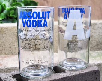 gift for drunk absolut vodka drinking glass set unique foodie gift gift ideas for gift for son gift for brother recycled vodka bottles