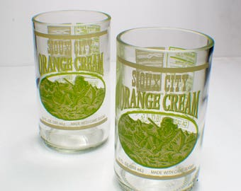 Sioux City Brewing Orange Cream Bottle upcycled drinking glass set of 2 By Rdi Glass
