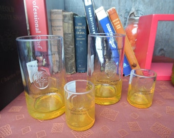 Ciroc Pineapple Vodka Cut Repurposed Bottles Upcycled Glass Set of four (2) Tumblers+ (2) Shotglasses By Rdi Glass