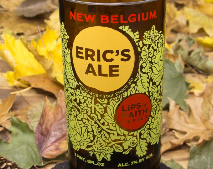 New Belgium Eric's Ale 15oz  glass idea for creative weddings, recycled home decor, drinkware, drinkware, gifts, decor and more..