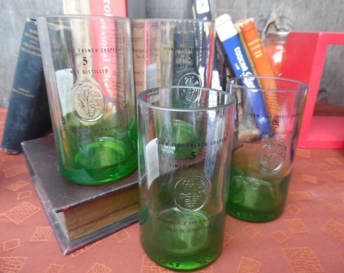 Ciroc Vodka Gift Set of 4 Upcycled 13oz Glass Tumblers Geen Apple