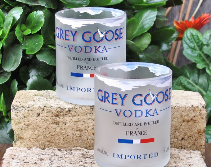 Grey Goose Cut Bottle Rocks Drinking Glass Set of 2  Hand Crafted  Perfect Gift!