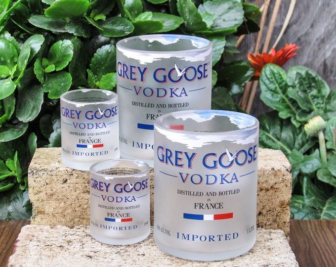 Grey Goose Vodka Glasses Gift For Him Party  Favors Cheers and Beers Man Cave Ideas Handcut for Bartender Retirement Party Sunday Funday