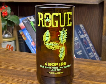 Special Gift for Beer Geek Rogue 4 Hop IPA Glass Tumbler Recycled Beer Bottle Beer Lover dad uncle drinker real man popular perfect original