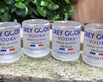 Grey Goose Vodka Upcycled Shot Glasses Set of 4