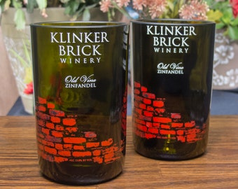 Klinker Brick bottles reclaimed tumblers glasses wine gift decorative unique glassware present set of 2 christmas holiday idea